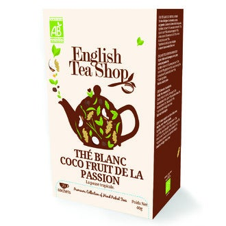 ENGLISH TEA SHOP - Thé blanc biologique à la citronnelle, au cacao, gingembre, coco et fleur de fruit de la passion boite 20 sachets