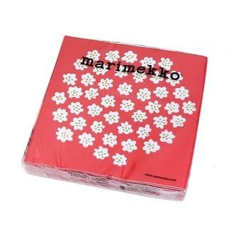 20 serviettes 33x33 cm marimekko puketti white red