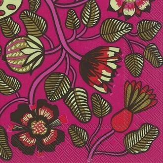 20 serviettes 33x33 cm marimekko tiara pink