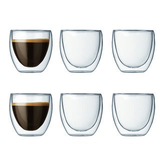 Bodum - set de 6 tasses à café double parois pavina 8cl