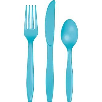 Ménagère 24 couverts jetables en plastique bleu turquoise