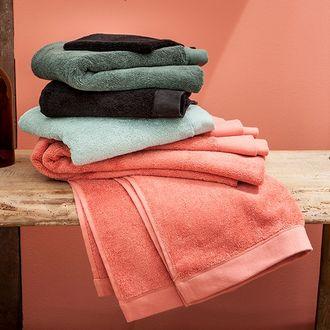 Maom - serviette de douche en coton éponge noir 70x140cm
