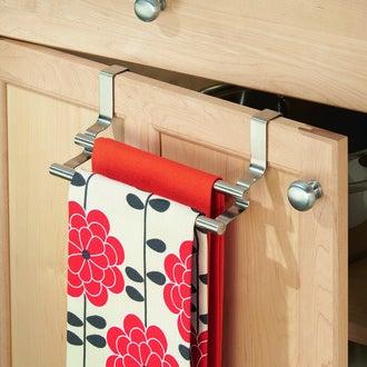 INTERDESIGN - Double barre porte torchon sur porte en inox 9,5x23,5x9,5cm