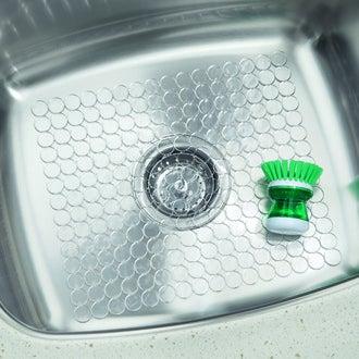 INTERDESIGN - Fond d'évier anti-dérapant en silicone transparent Circo 27x30cm