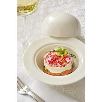 Coupelle dessert avec cloche blanche 16x9,5cm