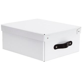 Boite de rangement en carton laqué blanc avec poignée cuir 38x51x19cm