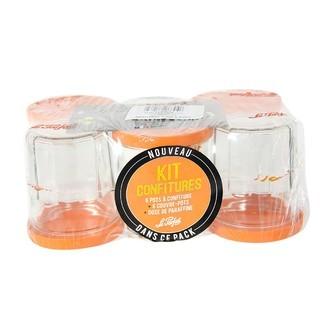 LE PARFAIT - 6 pots à confiture avec couvercle orange + paraffine