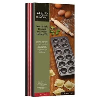 Kit moule 12 raviolis avec rouleau en bois
