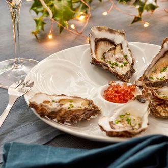 Assiette à huîtres en porcelaine blanche 6 pièces 23,5cm