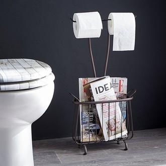 INTERDESIGN - Range magazine et dérouleur papier toilette bronze