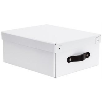 Boite de rangement en carton laqué blanc avec poignée cuir 33x44x16cm