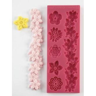 SCRAPCOOKING - Moule pâte à sucre fleurs en silicone 16x6x0,8cm
