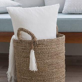 Coussin rectangle en lin blanc 40x60cm