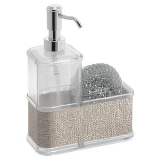 INTERDESIGN - Distributeur de savon liquide et porte éponge métal 350ml