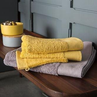 Gant de toilette en coton éponge biologique jaune