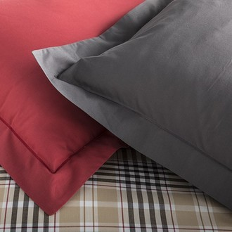 Zodio - taie d'oreiller rectangle en coton zinc 50x70cm