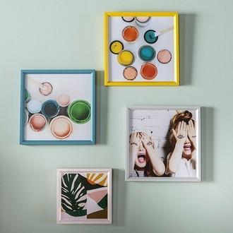 Zodio - cadre photo en bois moutarde 20x20cm