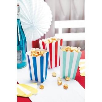 Set de 5 boites à pop corn en papier à rayures