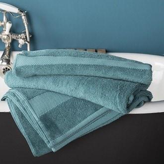 Zodio - serviette de douche en coton éponge bleu paon 70x130cm