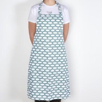 ZODIO - Tablier de cuisine  imprimé amande bleu paon