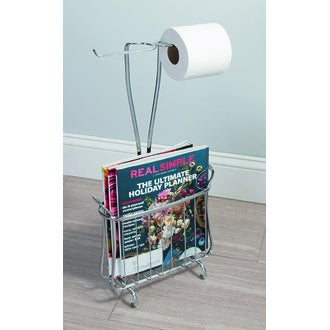 INTERDESIGN - Rangement pour magazine et dérouleur pour papier toilette chrome