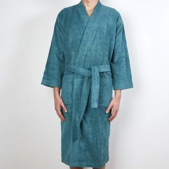 ZODIO - Peignoir en coton éponge bleu paon Taille L