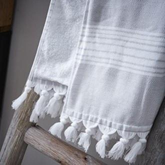 Drap de plage en coton à chevron gris souris 85x170