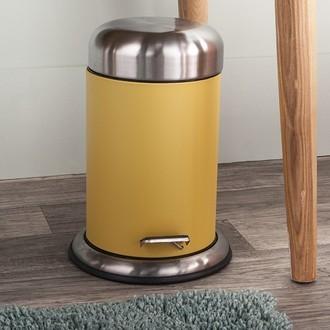 Poubelle de salle de bain jaune avec couvercle et pédale acier brossé - 3l
