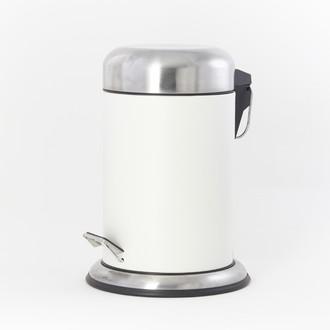 Poubelle de salle de bain blanc avec couvercle et pédale acier brossé - 3L