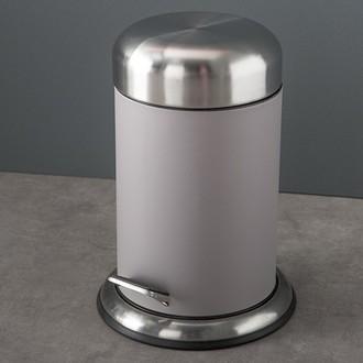 Poubelle de salle de bain gris avec couvercle et pédale acier brossé - 3L