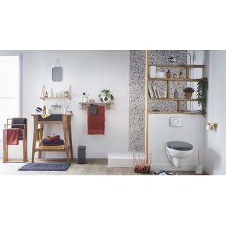 Poubelle de salle de bain rectangulaire gris béton - 5L