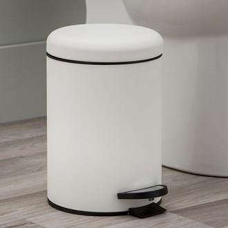 Poubelle de salle de bain soft touch blanche avec ouverture à pédale - 3L