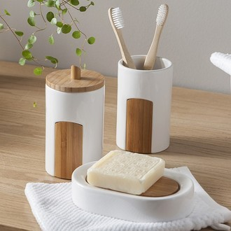 Porte-savon en céramique et bambou beavis