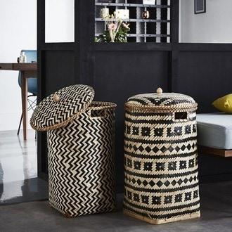 Panier à linge en bambou naturel noir avec couvercle Lomu