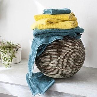 Zodio - serviette invité en coton éponge bleu paon 30x50cm
