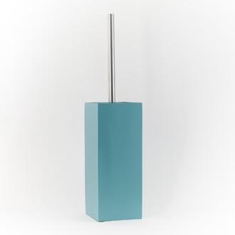 Balai brosse pour wc avec support carré turquoise