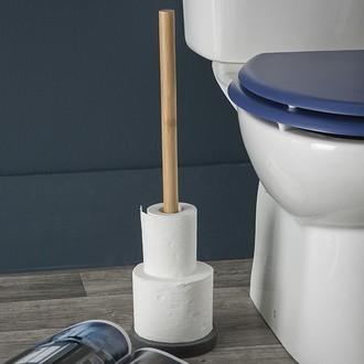 Stockeur pour papier toilette 5 rouleaux en bois et résine grise