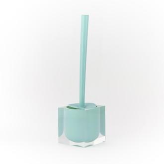 Balai brosse pour wc sunshine avec support carré bleu turquoise