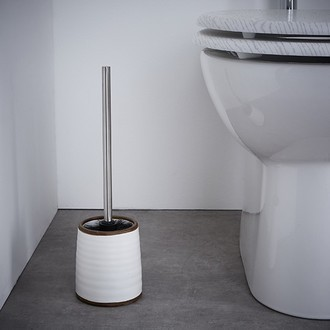 Balai brosse pour wc en céramique blanche