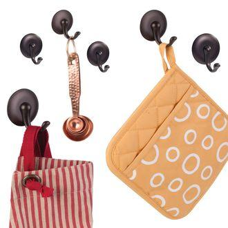 Set de 3 crochets adhésifs bronze