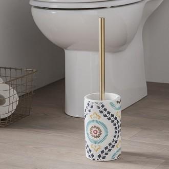 Balai brosse pour wc goa avec manche doré socle en céramique esprit bohéme