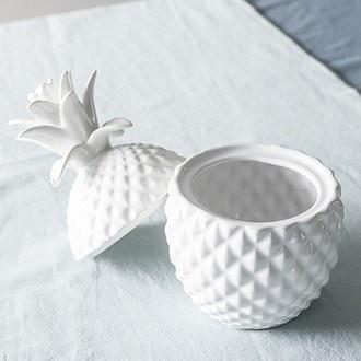 Poubelle de table ananas blanc 22cm