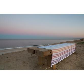 Drap de plage en coton rayé multicolore 90x180