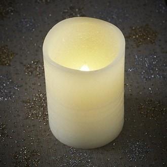 Bougie cylindrique à led ivoire H15x7cm