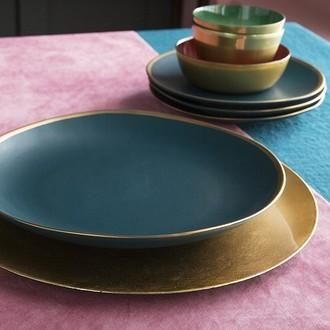 Assiette hôtesse coupe ronde or 33cm