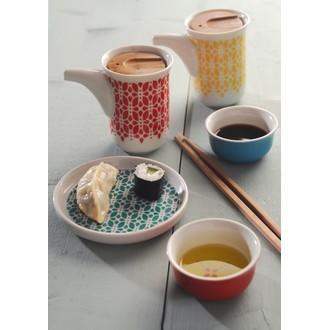 Set 2 pots d'huilier et de sauce soja en porcelaine Lotus 150ml