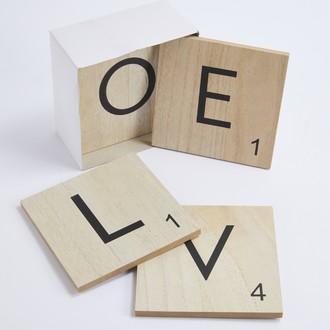 Set de 7 lettres de scrabble home love 15x15cm
