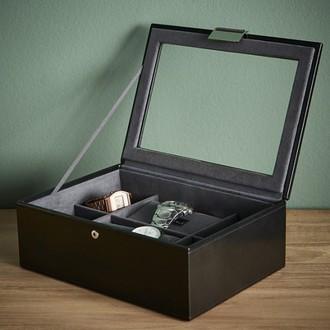 STACKERS - Boite de rangement 8 montres en bois, intérieur marron et kaki
