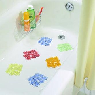 Set de 6 tapis de baignoire antiderapant en forme de fleurs