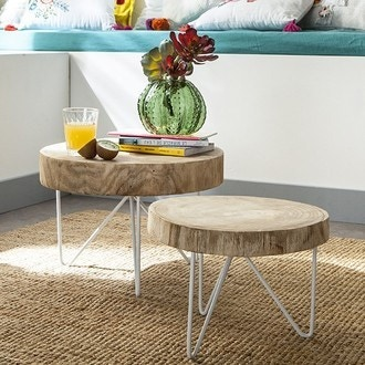 Table rondin de bois 30x43cm